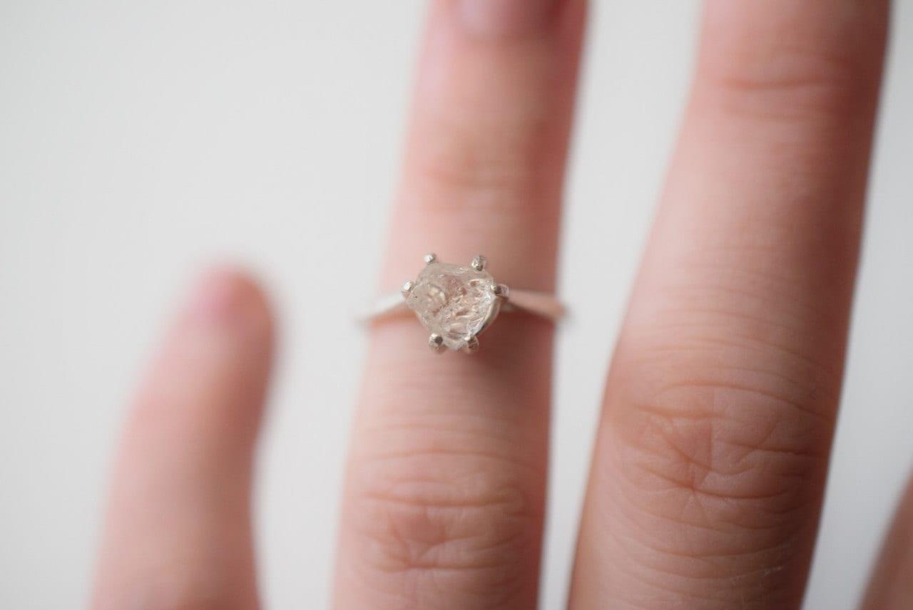Simple Raw Diamond Engagement Ring Rough Diamond Wedding Band