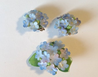 Staffordshire Cara China Flower Cluster Brooch Pin and Earrings