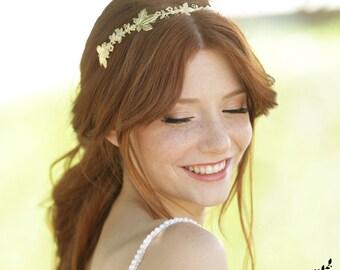 Gold Grecian Crown, Gold Wedding Headband, Leaf Headpiece, Wedding Tiara, Bridal Headpiece, Leaf Headpiece, Wedding Headpieces, Bridal Crown