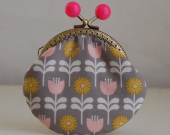 Garden in Grey Coin Purse Change Pouch with Metal Kiss Lock Clasp Frame - READY TO SHIP