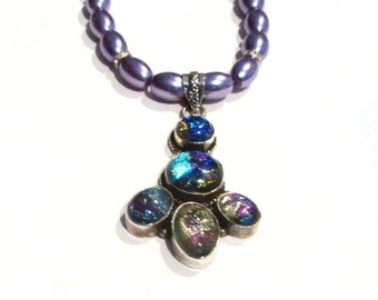 Dichroic Necklace, Dichroic Pendant, Sterling Silver Fancy Dichroic Pendant & Purple Pearl Glass Pearl Bead Necklace