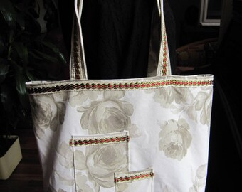 Leather tote bag ecru, big roses