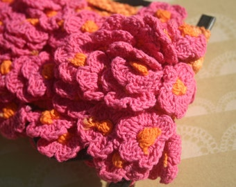 "Orange Pink Cluny Lace - Vintage Flower Crochet Trim - 1 3/8"" Wide - DESTASH SALE"
