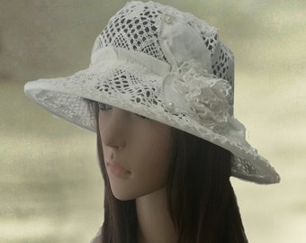 Wide brimmed sun hat, Linen womens hats, Cotton summer hats, Lace cotton hat lady, Summer hats women, Suns hats for women, Sun linen hats