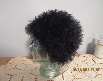Faux fur black woman's skull hat