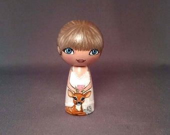 Woodland Girl with Fawn  Kokeshi Peg Wooden Doll