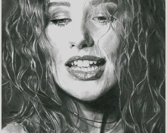 Tori Amos Realistic Pencil Portrait Print