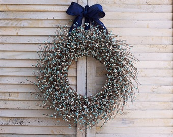 Teal and Ivory Berry Wreath - Winter Wreath - Winter Berry Wreath - Christmas Wreath - Christmas Berry Wreath - Holiday Wreath - Wreath