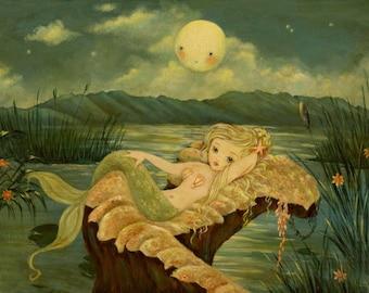 Children's Art - Full Moon at the Mermaid Lagoon Print 7x5 / 8x6 - Mermaid Art, Coral Pink, Blue, Nautical, By The Sea, Nursery Art, Girl