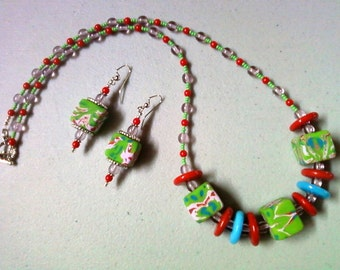 Chunky Lime Green, Red, Aqua and Lavender Necklace and Earrings (0800)