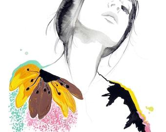 Very Valentino, print from original fashion illustration by Jessica Durrant