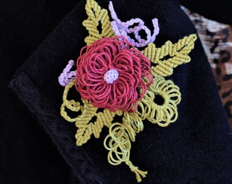 Micro Macrame Chrysanthemum Flower Brooch.