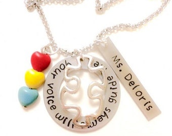 Teacher Gift from Student - Teacher Necklace - Personalized Teacher Gift - Teacher Appreciation - Autism - Thank You Gift -