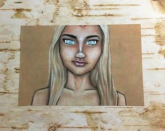 Valencia, blonde girl, blonde art, blue eyes, fantasy artwork,