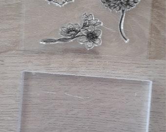 Clear stamp fleurs  et bloc acrylique