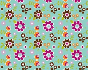 LITTLE MATRYOSHKA Cotton Fabric - Floral in Aqua C-3311 - Riley Blake - By the Yard