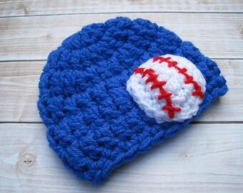 Baby Baseball Beanie, Baby Baseball Hat, Baby Baseball Cap, Baby Hat, Newborn Baseball Hat, Newborn Boy Hat, Baseball Photo Prop, Blue, Red
