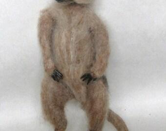 Made to order -Needle felted PoseableLife sized 8 inch  Meerkat ,  handmade animal wool woodland wildlife