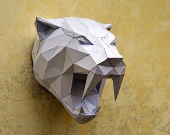 Make Your Own Sabertooh Tiger.   Papercraft animal   Paper Animal   Papercraft Tiger   Wild Cat   PlainPapyrus   Wild Animal   Sabertooh
