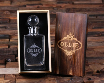 Personalized Engraved Etched Scotch Whiskey Decanter Bottle with Wood Box Groomsmen, Man Cave, Christmas Gift for Him (025283 or 025282)
