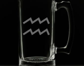 25 Ounce Aquarius Personalized Beer Mug