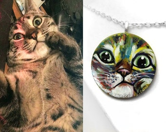 Rainbow Necklace, Custom Pet Portrait, Hand Painted Wood Jewelry, Colorful Painting, Cat Art, Dog Owner, Circle Pendant, Memorial Gift