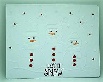 8 Embossed  Christmas Cards,  White Embossed SnowMan and Family Christmas Card Set, Winter Note Card, Greeting Cards.