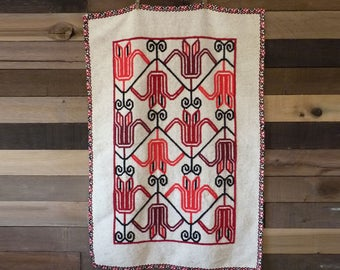 Wool Embroidered Textile | Fiber Art | Textile Art | Woven Tapetry | Ethnic Textile | Wall Hanging | Bohemian Textile