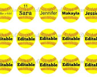 "Editable softballs 1"" Bottle Cap Images / JPG file Instant Download"