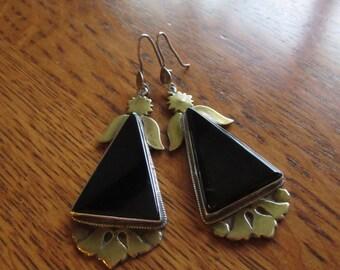 Vintage Black Onyx Angel Earrings, Brass & Silver, Large,Triangular Shape, Handmade Jewelry, Black,Gothic,Onyx Angel Earrings,Healing,Angels