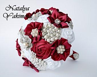Brooch Bouquet, Bridal Bouquet, Wedding Bouquet, Fabric Bouquet, Unique Bouquet, Marsala, White, Silver, Wine, Bordo, Flowers on a wedding