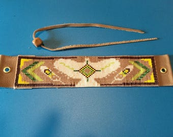 Hawk Totem, Native American Inspired, Brown, White, Green, and Yellow, Loom Beaded, Handwoven, Bracelet with Leather Back