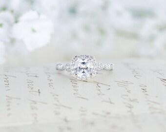SALE - Art Deco Engagement Ring - Cushion Cut Ring - Halo Engagement Ring - Wedding Ring - Promise Ring - Sterling Silver - 1.3 Carat