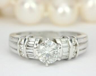 1.42tcw Platinum Classic Diamond Engagement Ring, Platinum Diamond Engagement Ring, Baguette Diamond Ring, Diamond, Engagement Ring