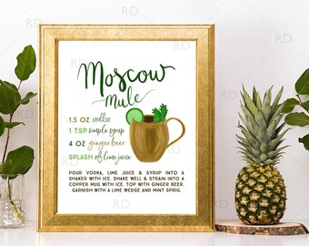 Moscow Mule with Recipe - PRINTABLE Wall Art / Cocktails Mixed Drinks Wall Art / Hand Drawn Cocktails / Cocktails Prints / 2 For 1!