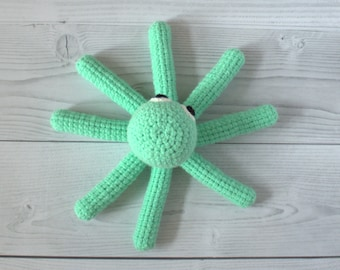 Smiling octopus with crocheted  eyes - Made to order - Cute octopus - Crochet octopus - Cuddly toy - Colourful  toy