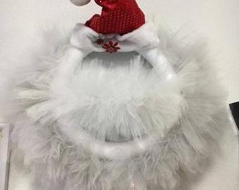 """16"""" Tulle Santa Wreath"""