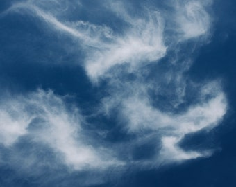 White Clouds on a Blue Sky - Wall Decor - Nature Photography - Wispy Clouds - Cobalt Sky - White - Fine Art Print - Living Room/Office
