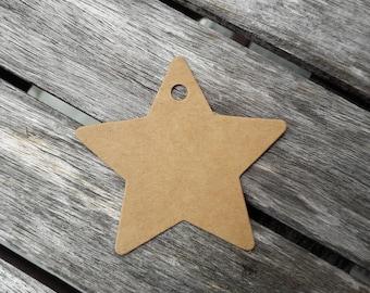 25 Star Tags, Tags, Hang Tag, Hang Tags, Custom Hang Tags,  Brown, 6 cm, 2.36 inch