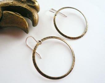 Big bronze hoops Bronze hoop earrings Antiqued bronze earrings Hammered hoops Sterling silver wires Round earrings Mixed metal earrings