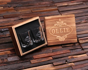 Personalized Shot Glasses with Wood Box Groomsmen, Best Man, Man Cave Gift Barware (024965)