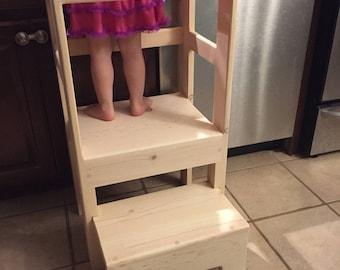 Natural Pine Children's Kitchen Play Safety Helper Step Stool Counter High, Sliding Step For EZ Storage
