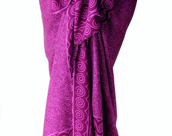 Beach Sarong Pareo Wrap Skirt - Batik Pareo Womens Swimsuit Cover Up - Magenta Purple Spiral Sarong - Batik Sarong Skirt - Beach Cover Up