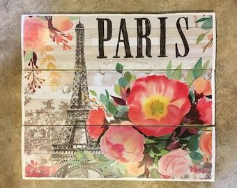 Paris Wooden Wall Decor, Eiffel Tower, Wood Wall Art, Wooden Wall Decor, Wood Art, Paris Wall Art, Wood Wall Decor, Flower Wall Art