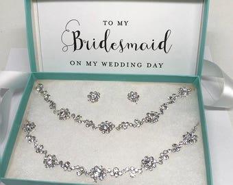 Bridesmaid jewelry set, Wedding jewelry set, bridal jewelry set, Bridal backdrop necklace earrings, Crystal choker earring bracelet