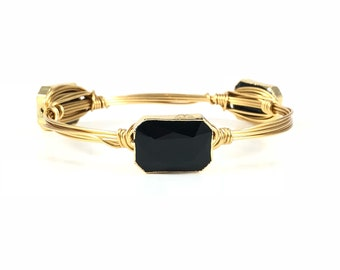 Gold Rimmed Small Black Wire Wrapped Bangles - Wire Jewelry - Bracelet - Mother's Day Gift - Stacking Bracelets - Courtney And Courtnie