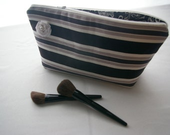 CLEARANCE...Large Flat Bottom Cosmetic Bag in Black and White Stripe...The Adelaide Collection