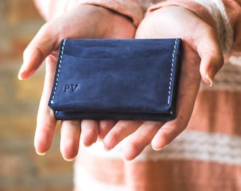 Personalized Minimalist Modern Leather Card Wallet, Distressed Leather Wallet, Bifold Cardholder - Champaign | Navy Blue White Thread