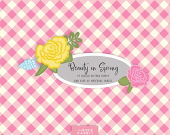 Spring Flower Digital Paper, Girl Baby Shower Pattern Paper, Flower Clip Art, Girl Baby Shower Clip Art
