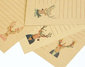 Vintage Style Deer Series Stationery - Brown Writing Paper, Kraft Letter Paper - Invitation, Wedding, Filofax, Diary - 4 Styles available